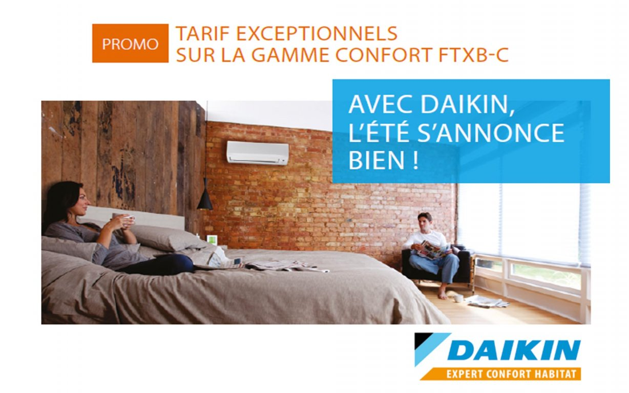 promo daikin sur la gamme confort ftxb c entreprise chauffage hy res caleco. Black Bedroom Furniture Sets. Home Design Ideas